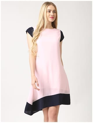 Marie Claire Pink Solid Dress