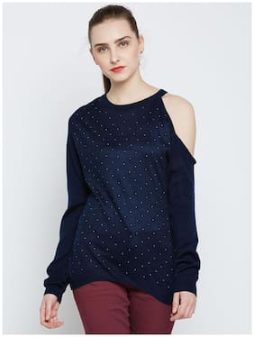 Marie Claire Women Solid Sweaters & Pullovers - Blue