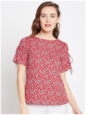 Marie Claire Women Red Floral Print Top