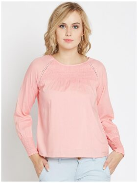Marie Claire Pink Top with Smocked Detail