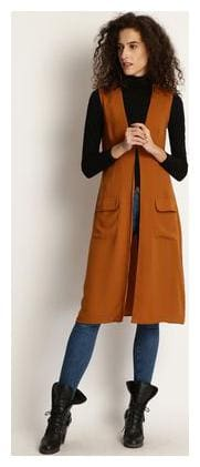 Marie Claire Mustard Solid Button Shrug
