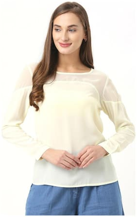 Marie Claire Women Crepe Solid - Regular top White