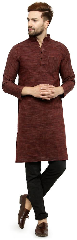 Maroon Cotton Long Kurta
