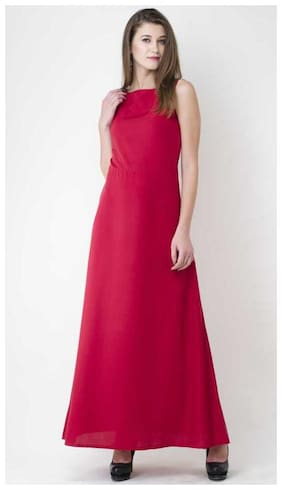 ZISAAN Crepe Solid Maxi dress Maroon