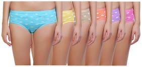 Maroon Pack Of 6 Printed Low waist Hipster Panty - Multi