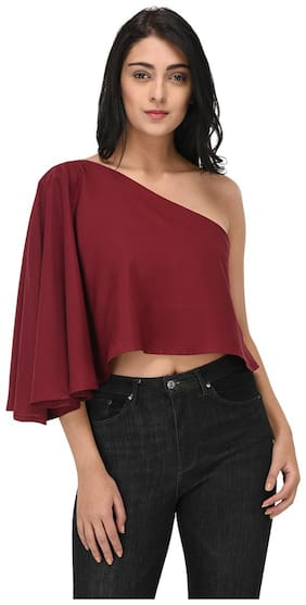 Maroon One Shoulder Top