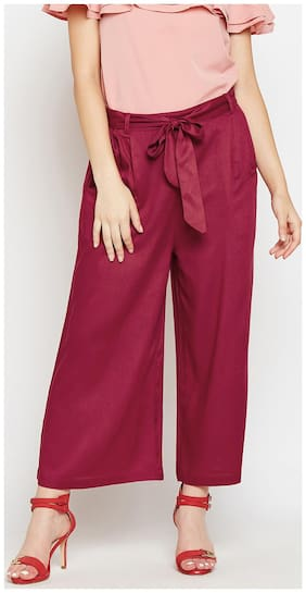 Wisstler Women Regular fit Mid rise Printed Cullotes - Maroon