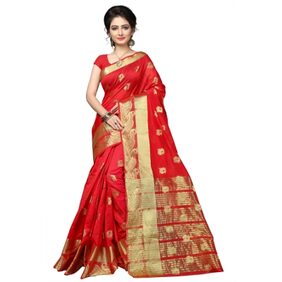 MAROOSH BANARASI SILK RED DESIGNER WEAVING DESIGNER SAREE WITH BLOUSE PIECE