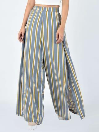 MARTINI Women Grey Beige Stripe Wrap Flared Pant