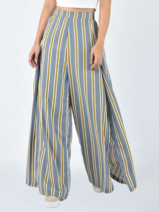 MARTINI Women Grey Beige Stripe Wrap Flared Pant