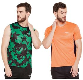 Masch Sports Mens Polyester Printed & Colourblocked T-Shirts - Pack of 2