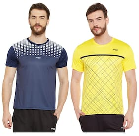 Masch Sports Mens Polyester Printed T-Shirts - Pack of 2 (Navy Blue & Yellow)