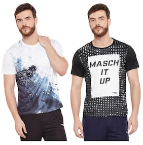Masch Sports Mens Polyester Printed T-Shirts - Pack of 2 (White & Black)
