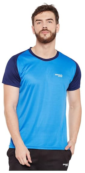 Masch Sports Men V Neck Sports T-Shirt - Blue