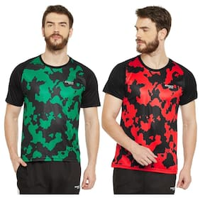 Masch Sports Mens Polyester Printed T-Shirts - Pack of 2