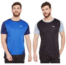 Masch Sports Mens Polyester Solid T-Shirts - Pack of 2