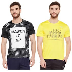 Masch Sports Mens Polyester Printed T-Shirts - Pack of 2 (Black & Yellow)