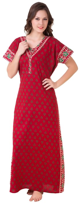 Masha Cotton Night Gown Printed Nightwear Red - (Pack of 1 ) d2fadfb24