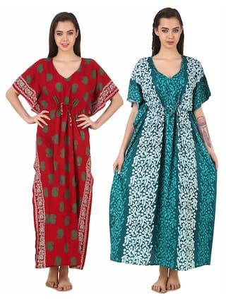 224f7d11be Buy Masha Women's Cotton Kaftan Nighty 2Pcs Combo Set Online at Low ...