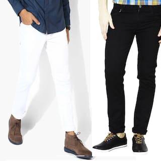 Masterly Weft Men White & Black Slim Fit Jeans
