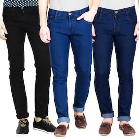 Masterly Weft Men Black & Blue Slim Fit Jeans