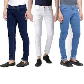 Masterly Weft Men White & Blue Slim Fit Jeans