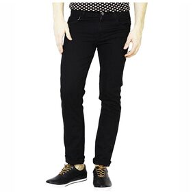 Masterly weft Men's Mid Rise Slim Fit Jeans - Black