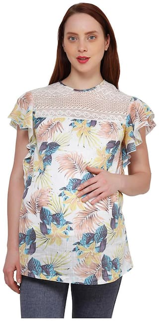 Maternity printed mesh top
