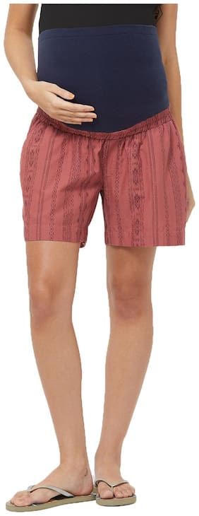 Maternity Tribal Lounge Shorts - Maroon