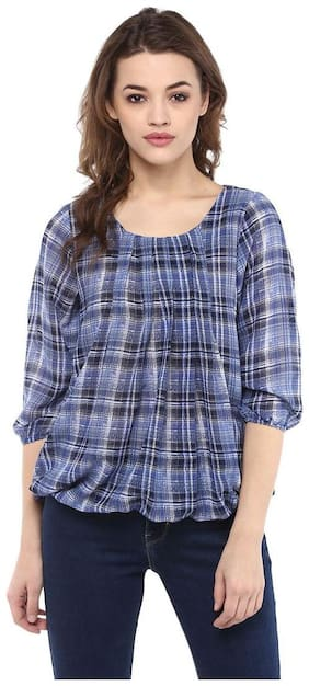 Mayra Women Checked Regular top - Grey