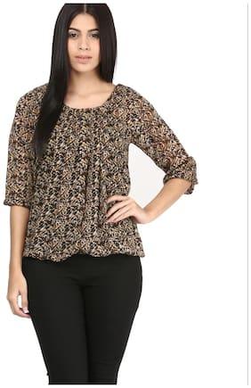 Mayra Women Polyester Animal print - Regular top Brown