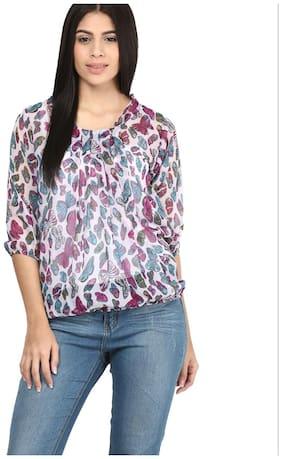 Women Printed Mandarin Collar Top