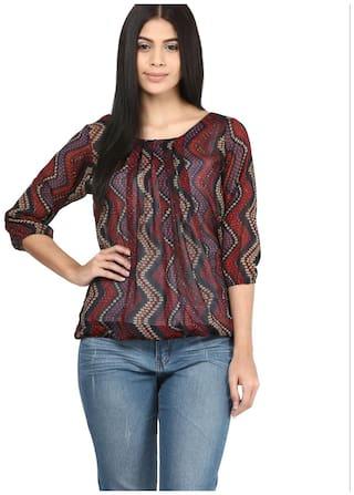 Mayra Women Printed Regular top - Brown