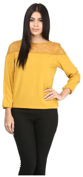 Mayra party wear yellow crepe Top