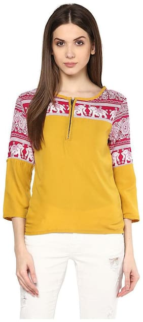 Women Checked Boat Neck Top