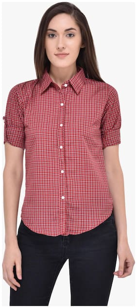 Mayra Women Red Checked Regular Fit Shirt