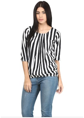 Mayra Women Striped Regular top - Grey
