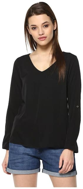Mayra Women Solid Regular top - Black