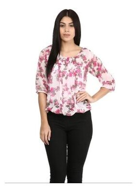 Mayra Party wear Pink Georgette Top