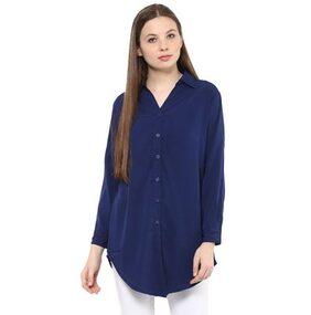 Mayra  Party wear   Crepe  Navy Blue   Shirt
