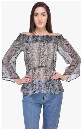 d03798fa69be Buy Mayra Women Georgette Animal Print - A-line Top Grey Online at ...