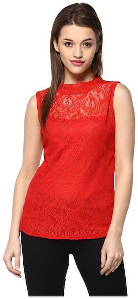Mayra Women Solid Regular top - Red