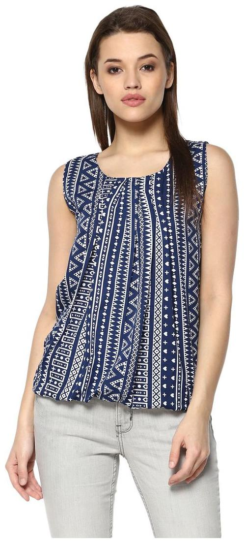 mayra Party wear Blue Crepe Top