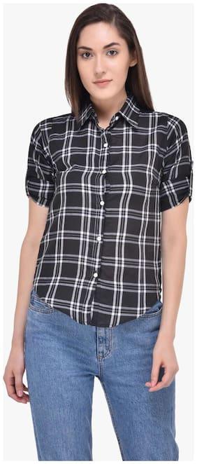 Mayra Women Grey Checked Regular Fit Shirt