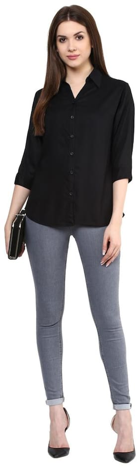 Mayra Women Black Solid Regular Fit Shirt