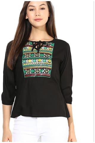 Mayra Women Printed Regular top - Black