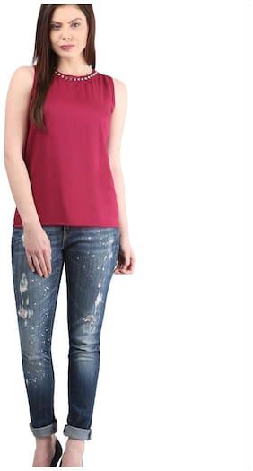 Mayra Women Solid Regular top - Pink