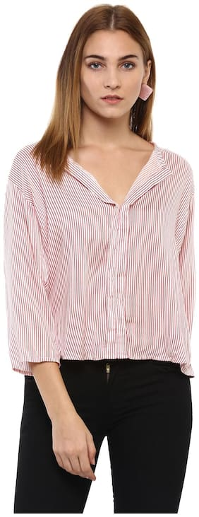 Mayra Women Striped Regular top - Pink