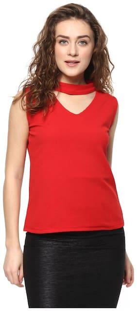 Mayra Women Printed Regular top - Red