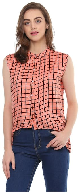 Mayra Women Checked Regular top - Pink